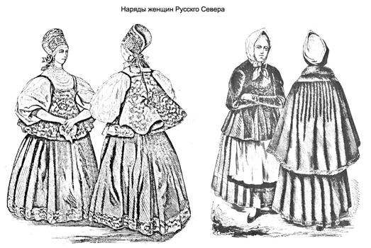 Народы России в старые времена. Наряды женщин Русского Севера
