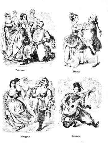 Старинные народные танцы. Полонез, вальс, мазурка, казачок. Раскраска